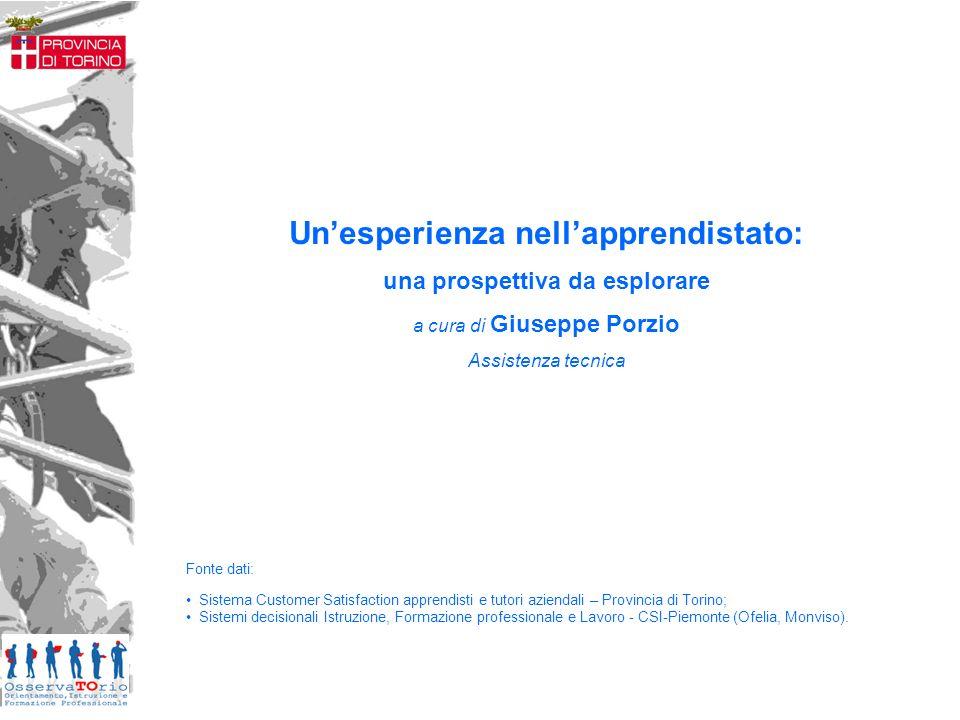Fonte dati: Sistema Customer Satisfaction apprendisti e tutori aziendali – Provincia di Torino; Sistemi decisionali Istruzione, Formazione professiona