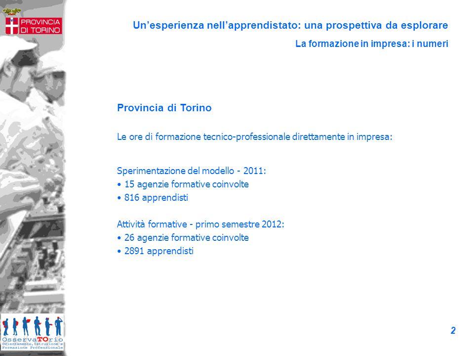 86,1% 99,7% 93,0% Unesperienza nellapprendistato: una prospettiva da esplorare I risultati: la tenuta dei percorsi formativi Primo semestre 2012 3