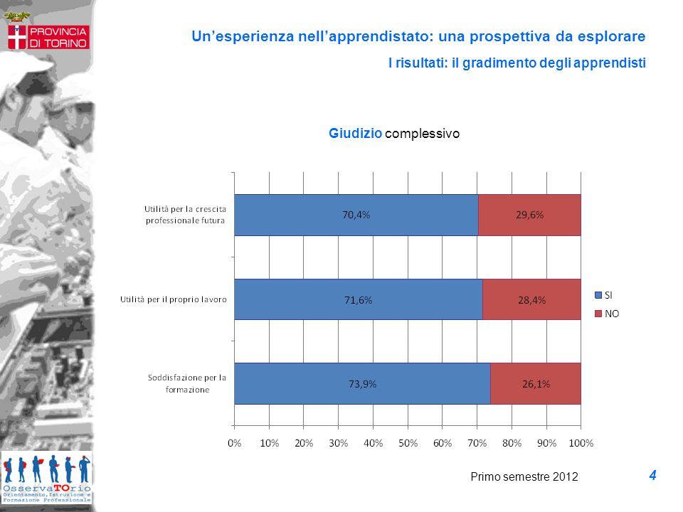 Unesperienza nellapprendistato: una prospettiva da esplorare Giudizio complessivo I risultati: il gradimento degli apprendisti Primo semestre 2012 4