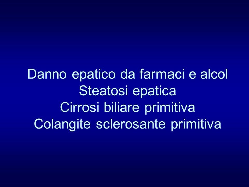 Danno epatico da farmaci e alcol Steatosi epatica Cirrosi biliare primitiva Colangite sclerosante primitiva
