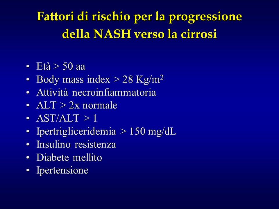 Fattori di rischio per la progressione della NASH verso la cirrosi Età > 50 aaEtà > 50 aa Body mass index > 28 Kg/m 2Body mass index > 28 Kg/m 2 Attività necroinfiammatoriaAttività necroinfiammatoria ALT > 2x normaleALT > 2x normale AST/ALT > 1AST/ALT > 1 Ipertrigliceridemia > 150 mg/dLIpertrigliceridemia > 150 mg/dL Insulino resistenzaInsulino resistenza Diabete mellitoDiabete mellito IpertensioneIpertensione