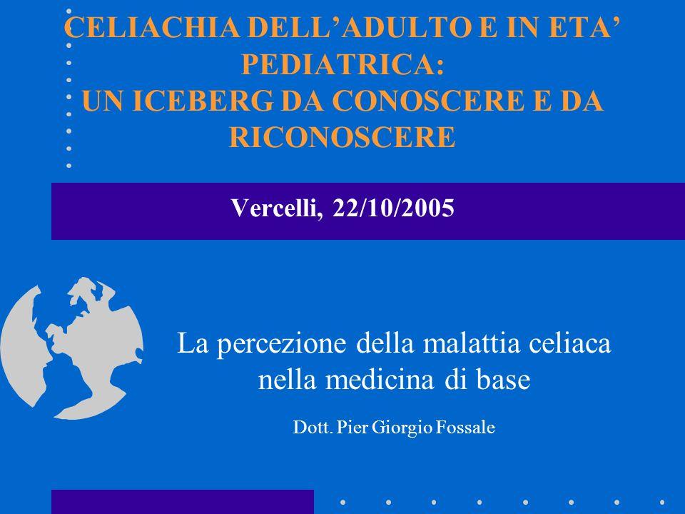 CELIACHIA DELLADULTO E IN ETA PEDIATRICA: UN ICEBERG DA CONOSCERE E DA RICONOSCERE Vercelli, 22/10/2005 La percezione della malattia celiaca nella med