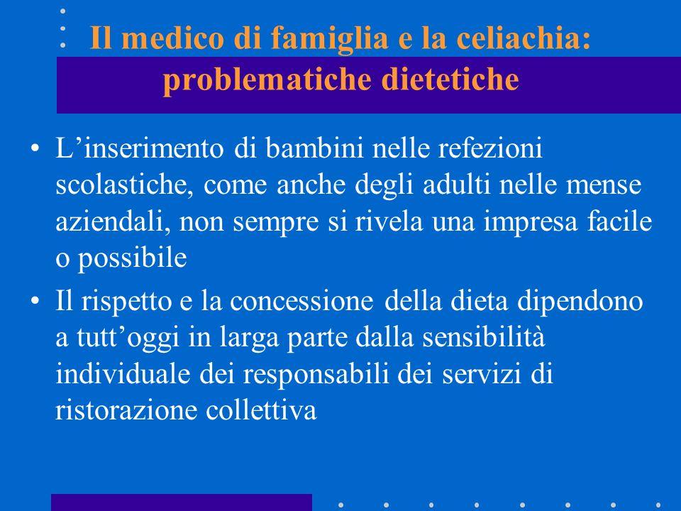 Il medico di famiglia e la celiachia: problematiche dietetiche Linserimento di bambini nelle refezioni scolastiche, come anche degli adulti nelle mens