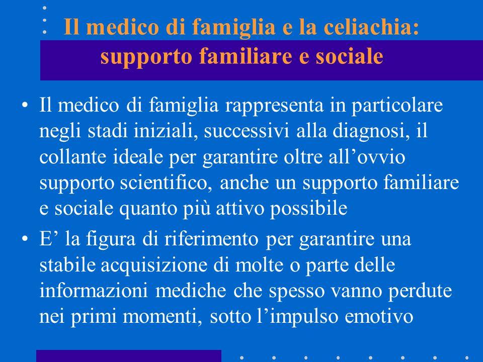 Il medico di famiglia e la celiachia: supporto familiare e sociale Il medico di famiglia rappresenta in particolare negli stadi iniziali, successivi a