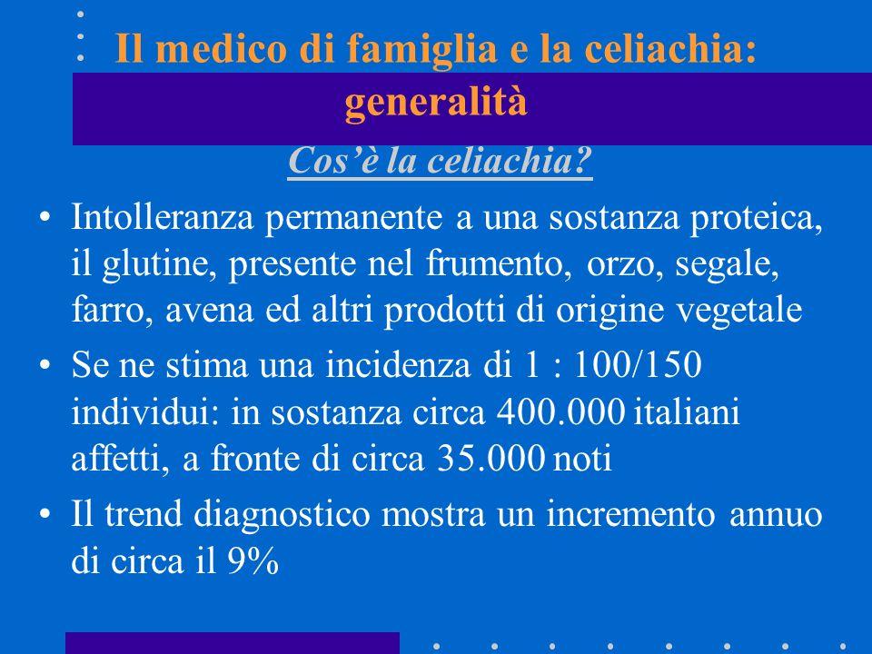 Il medico di famiglia e la celiachia: generalità Cosè la celiachia? Intolleranza permanente a una sostanza proteica, il glutine, presente nel frumento