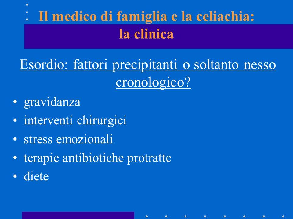 Il medico di famiglia e la celiachia: la clinica Esordio: fattori precipitanti o soltanto nesso cronologico? gravidanza interventi chirurgici stress e