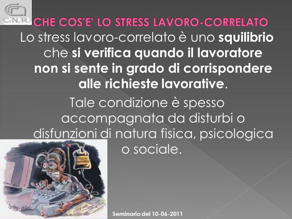 Lo stress lavoro-correlato è uno squilibrio che si verifica quando il lavoratore non si sente in grado di corrispondere alle richieste lavorative. Tal