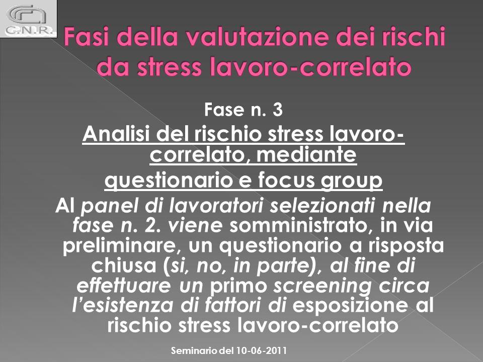 Fase n. 3 Analisi del rischio stress lavoro- correlato, mediante questionario e focus group Al panel di lavoratori selezionati nella fase n. 2. viene