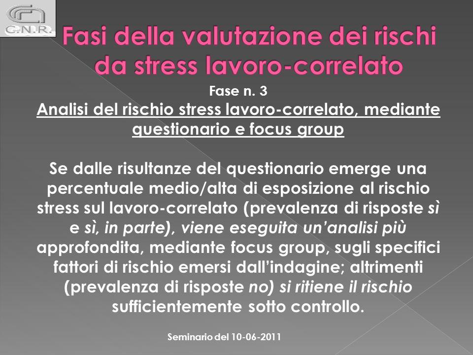 Fase n. 3 Analisi del rischio stress lavoro-correlato, mediante questionario e focus group Se dalle risultanze del questionario emerge una percentuale