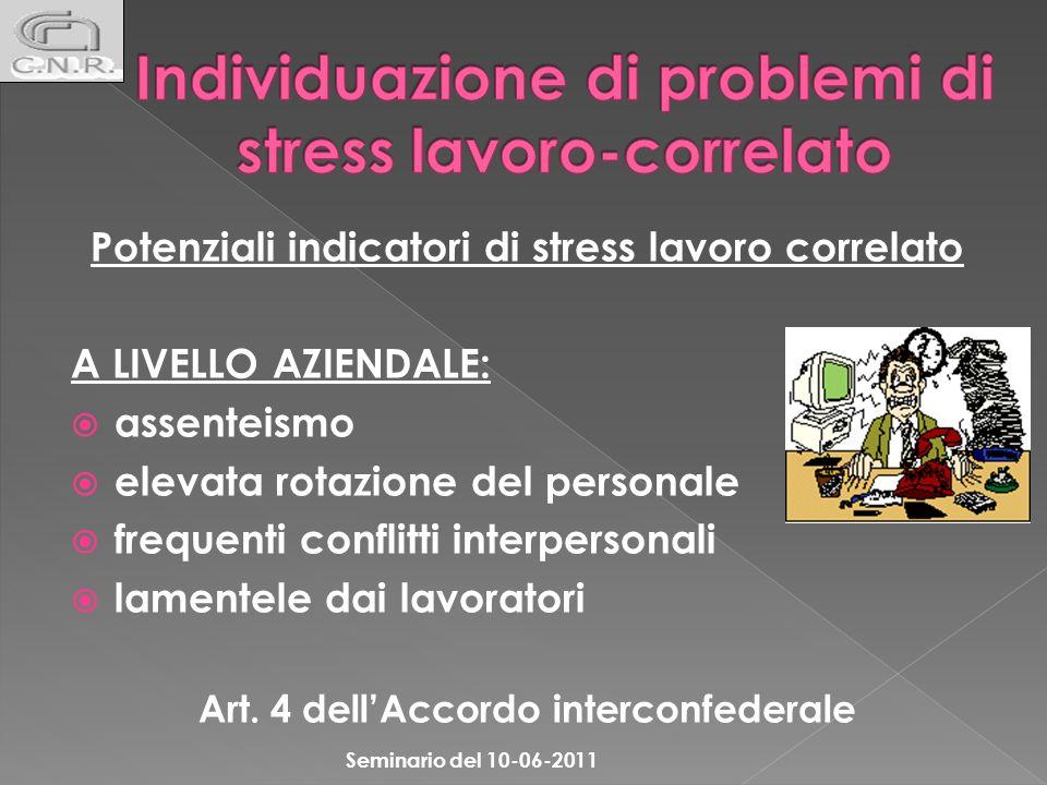 Potenziali indicatori di stress lavoro correlato A LIVELLO AZIENDALE: assenteismo elevata rotazione del personale frequenti conflitti interpersonali l