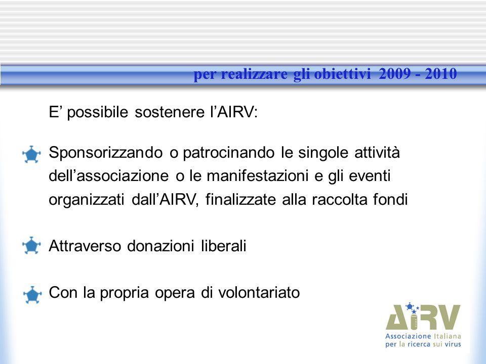 per realizzare gli obiettivi 2009 - 2010 E possibile sostenere lAIRV: Sponsorizzando o patrocinando le singole attività dellassociazione o le manifestazioni e gli eventi organizzati dallAIRV, finalizzate alla raccolta fondi Attraverso donazioni liberali Con la propria opera di volontariato