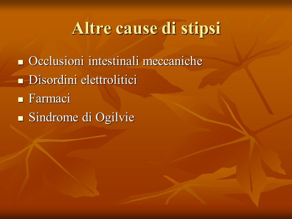 Altre cause di stipsi Occlusioni intestinali meccaniche Occlusioni intestinali meccaniche Disordini elettrolitici Disordini elettrolitici Farmaci Farmaci Sindrome di Ogilvie Sindrome di Ogilvie