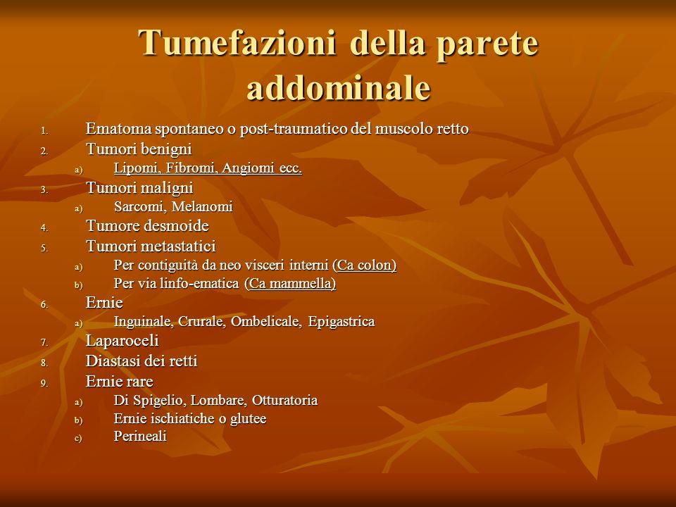 1.Ematoma spontaneo o post-traumatico del muscolo retto 2.