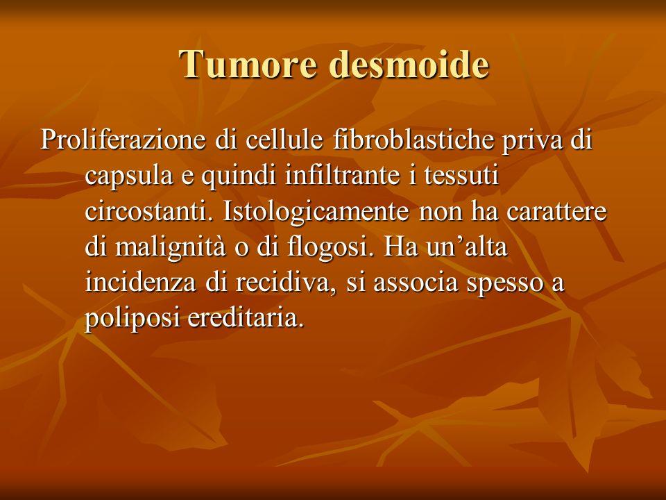 Tumore desmoide Proliferazione di cellule fibroblastiche priva di capsula e quindi infiltrante i tessuti circostanti.