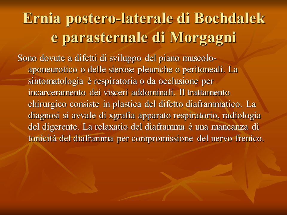 Ernia postero-laterale di Bochdalek e parasternale di Morgagni Sono dovute a difetti di sviluppo del piano muscolo- aponeurotico o delle sierose pleuriche o peritoneali.