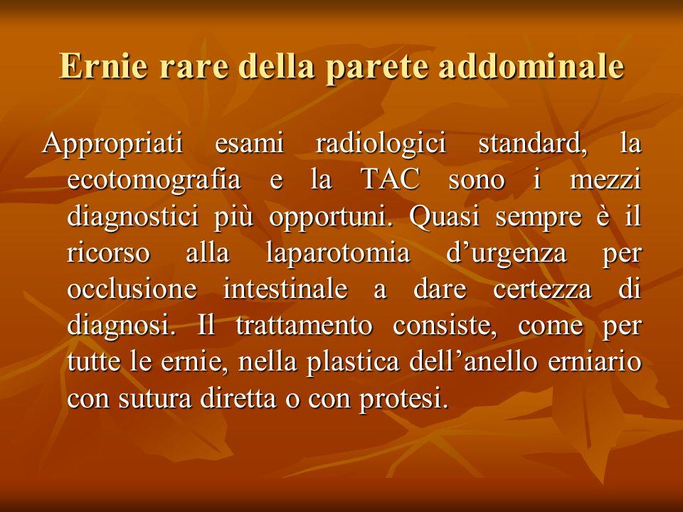 Ernie rare della parete addominale Appropriati esami radiologici standard, la ecotomografia e la TAC sono i mezzi diagnostici più opportuni.