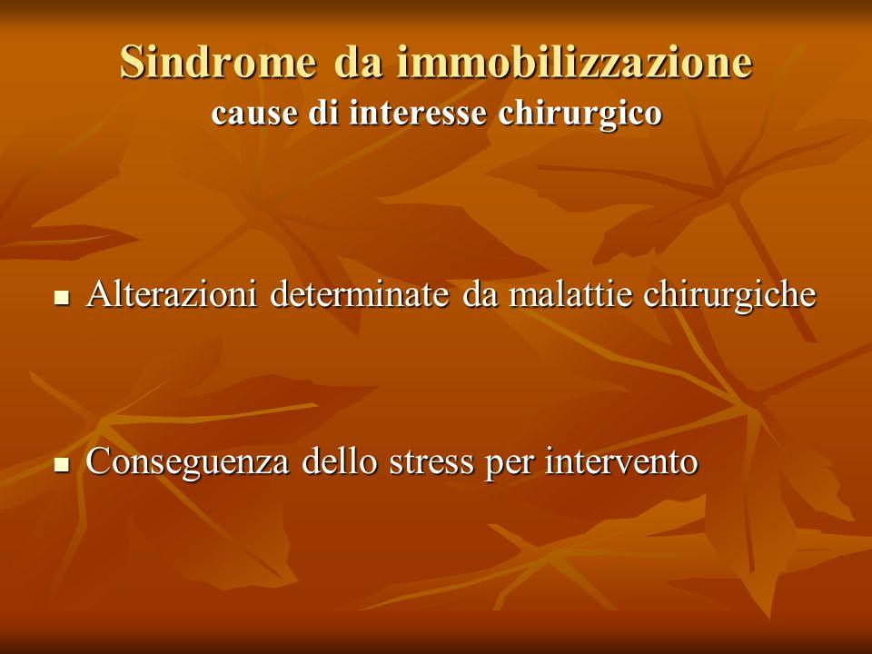 Sindrome da immobilizzazione cause di interesse chirurgico Alterazioni determinate da malattie chirurgiche Alterazioni determinate da malattie chirurgiche Conseguenza dello stress per intervento Conseguenza dello stress per intervento