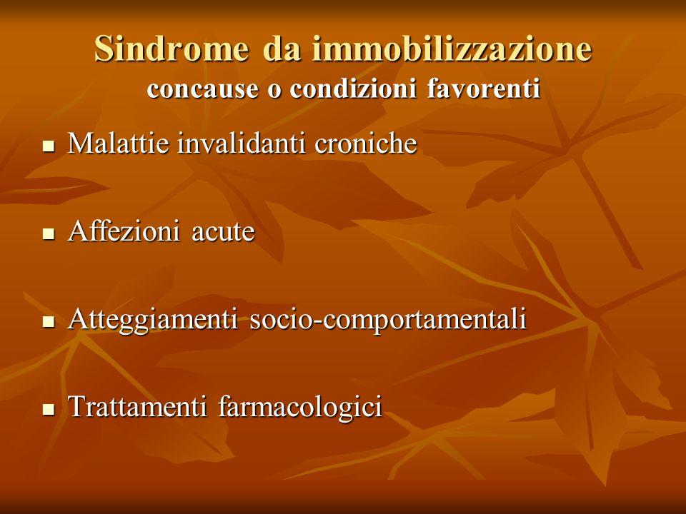 Sindrome da immobilizzazione concause o condizioni favorenti Malattie invalidanti croniche Malattie invalidanti croniche Affezioni acute Affezioni acute Atteggiamenti socio-comportamentali Atteggiamenti socio-comportamentali Trattamenti farmacologici Trattamenti farmacologici