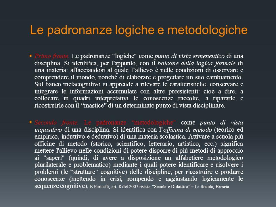 Le padronanze logiche e metodologiche Primo fronte. Le padronanze