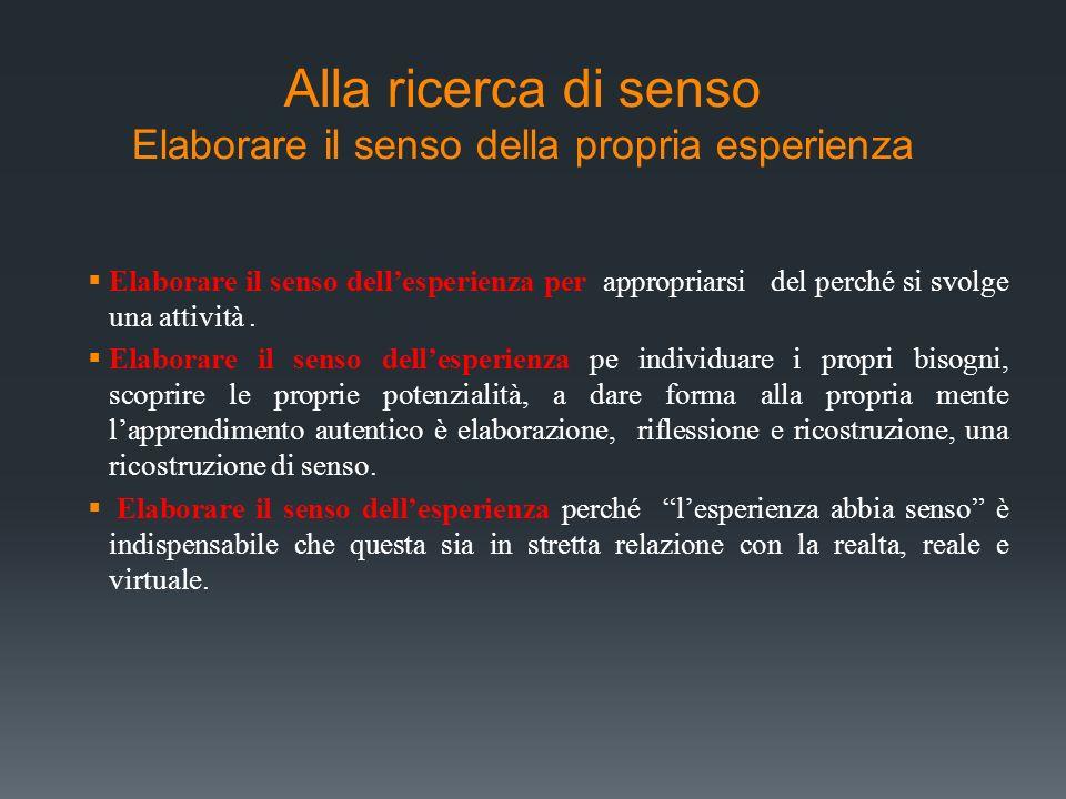 Alla ricerca di senso Elaborare il senso della propria esperienza Elaborare il senso dellesperienza per appropriarsi del perché si svolge una attività