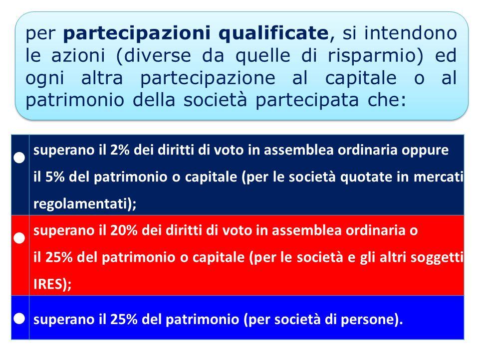 superano il 2% dei diritti di voto in assemblea ordinaria oppure il 5% del patrimonio o capitale (per le società quotate in mercati regolamentati); su