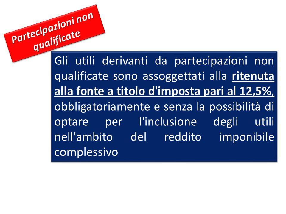 Partecipazioni non qualificate Gli utili derivanti da partecipazioni non qualificate sono assoggettati alla ritenuta alla fonte a titolo d'imposta par