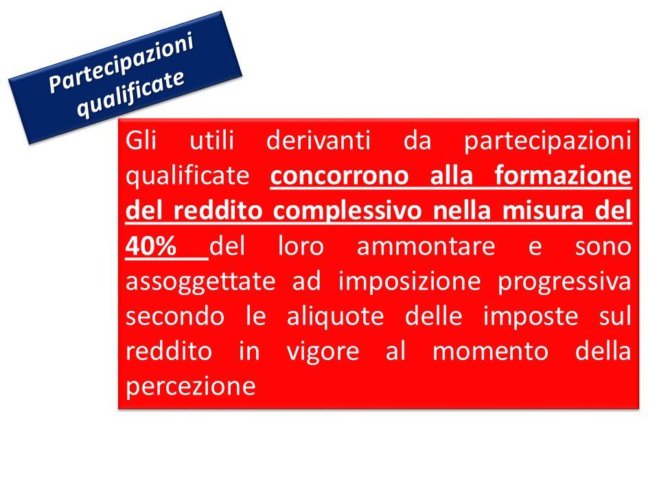 Partecipazioni qualificate Gli utili derivanti da partecipazioni qualificate concorrono alla formazione del reddito complessivo nella misura del 40% d