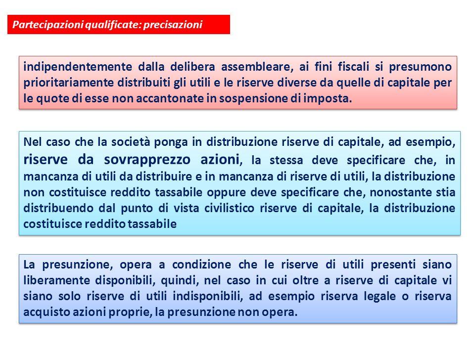 Partecipazioni qualificate: precisazioni indipendentemente dalla delibera assembleare, ai fini fiscali si presumono prioritariamente distribuiti gli u