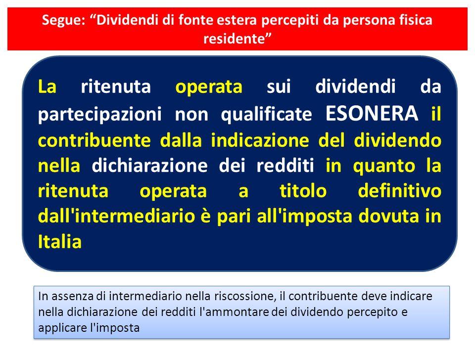 Segue: Dividendi di fonte estera percepiti da persona fisica residente La ritenuta operata sui dividendi da partecipazioni non qualificate ESONERA il