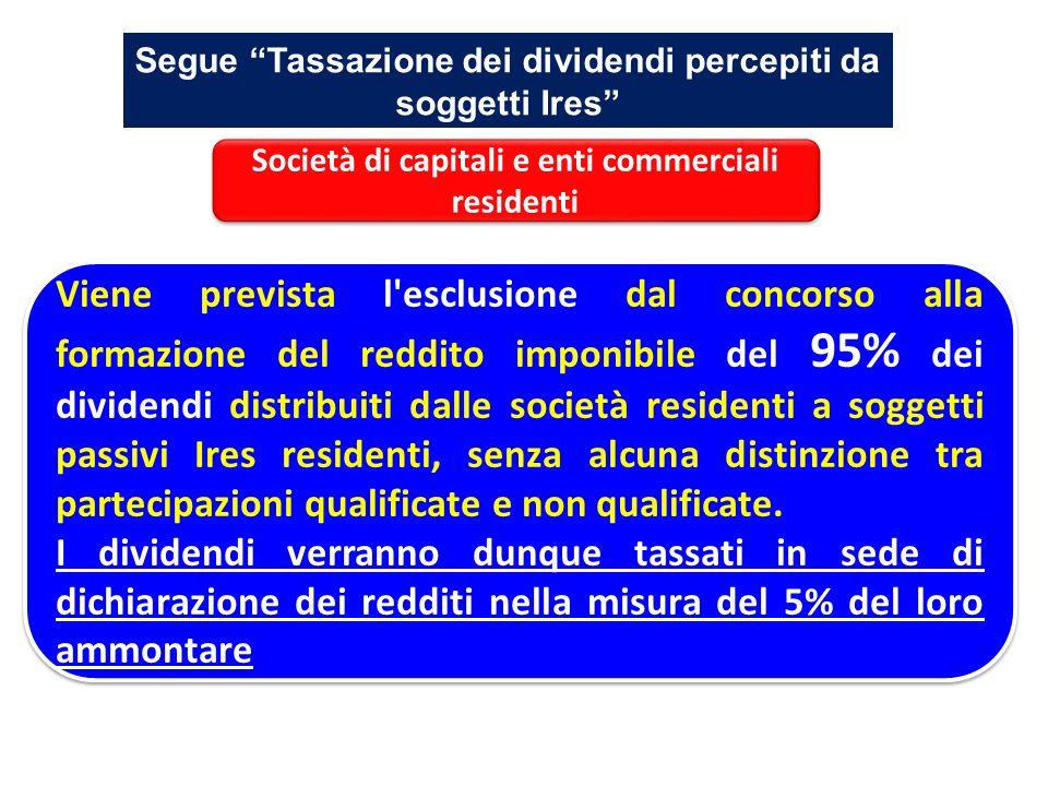 Segue Tassazione dei dividendi percepiti da soggetti Ires Viene prevista l'esclusione dal concorso alla formazione del reddito imponibile del 95% dei