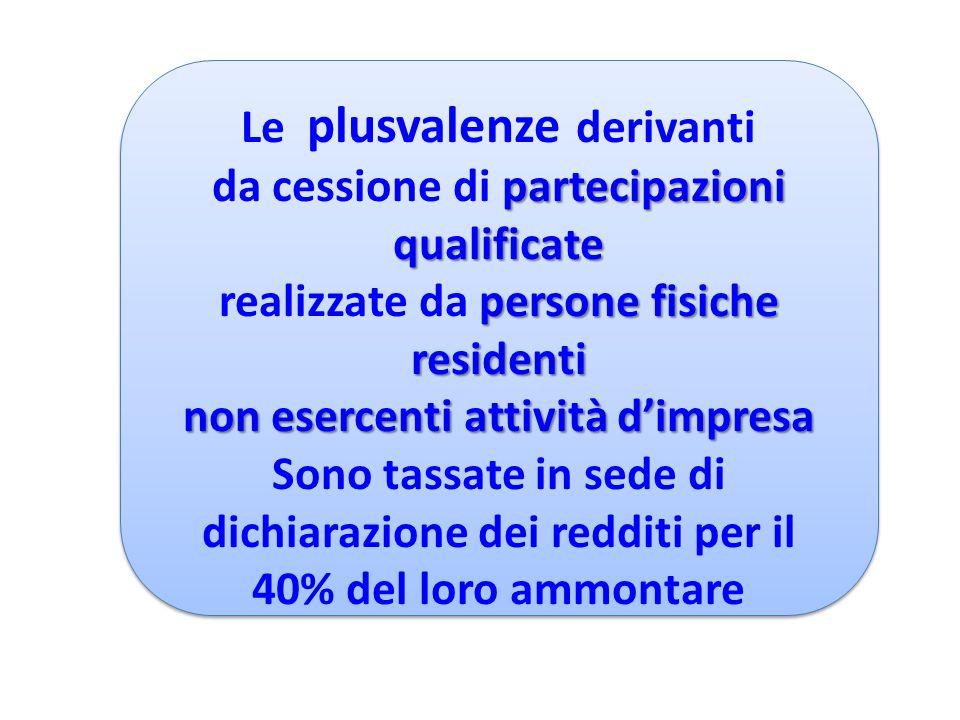 Le plusvalenze derivanti partecipazioni qualificate da cessione di partecipazioni qualificate persone fisiche residenti realizzate da persone fisiche