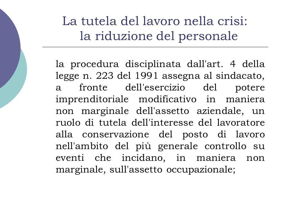 La tutela del lavoro nella crisi: la riduzione del personale la procedura disciplinata dall'art. 4 della legge n. 223 del 1991 assegna al sindacato, a