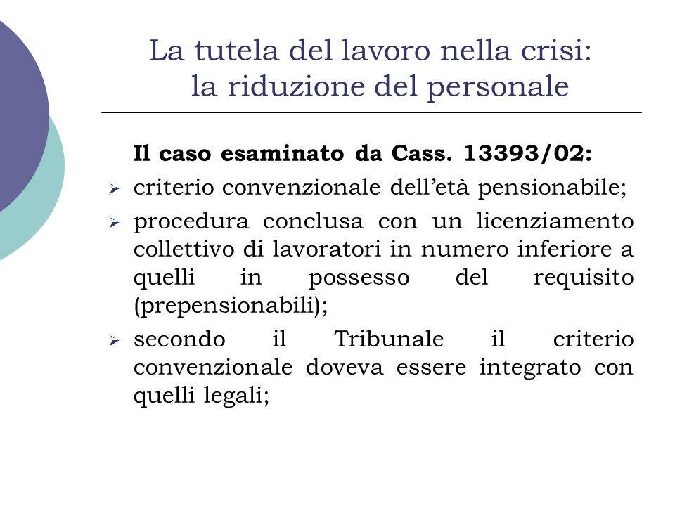 La tutela del lavoro nella crisi: la riduzione del personale Il caso esaminato da Cass. 13393/02: criterio convenzionale delletà pensionabile; procedu