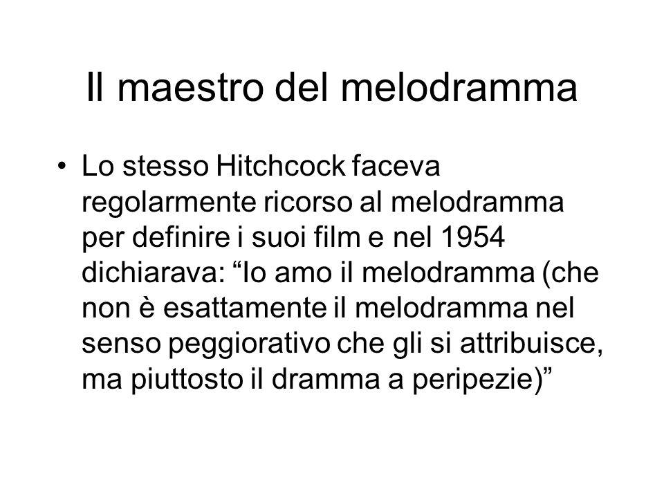 Il maestro del melodramma Lo stesso Hitchcock faceva regolarmente ricorso al melodramma per definire i suoi film e nel 1954 dichiarava: Io amo il melo