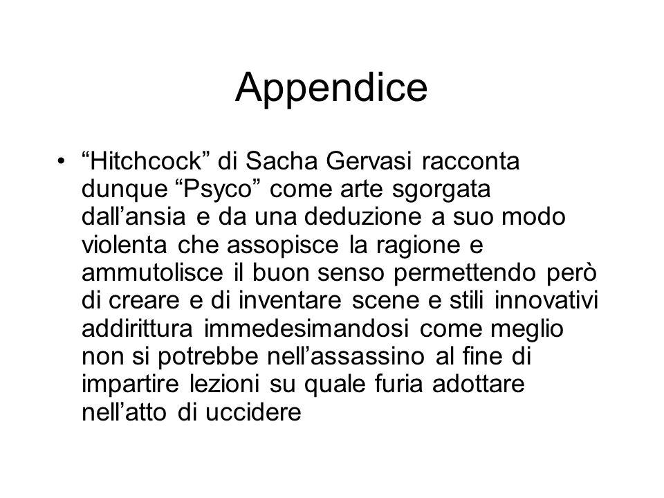 Appendice Hitchcock di Sacha Gervasi racconta dunque Psyco come arte sgorgata dallansia e da una deduzione a suo modo violenta che assopisce la ragion