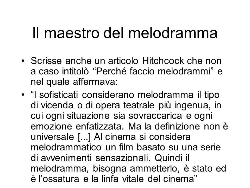 Il maestro del melodramma Scrisse anche un articolo Hitchcock che non a caso intitolò Perché faccio melodrammi e nel quale affermava: I sofisticati co
