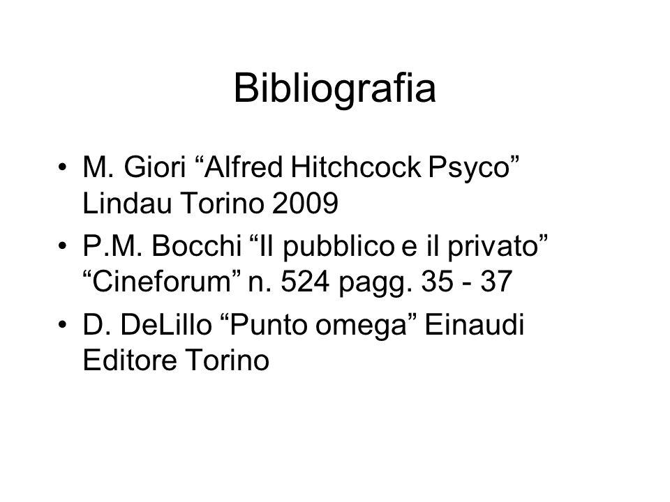 Bibliografia M. Giori Alfred Hitchcock Psyco Lindau Torino 2009 P.M. Bocchi Il pubblico e il privato Cineforum n. 524 pagg. 35 - 37 D. DeLillo Punto o