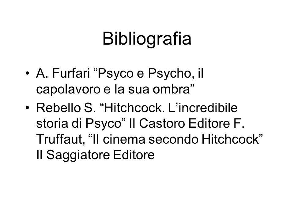 Bibliografia A. Furfari Psyco e Psycho, il capolavoro e la sua ombra Rebello S. Hitchcock. Lincredibile storia di Psyco Il Castoro Editore F. Truffaut