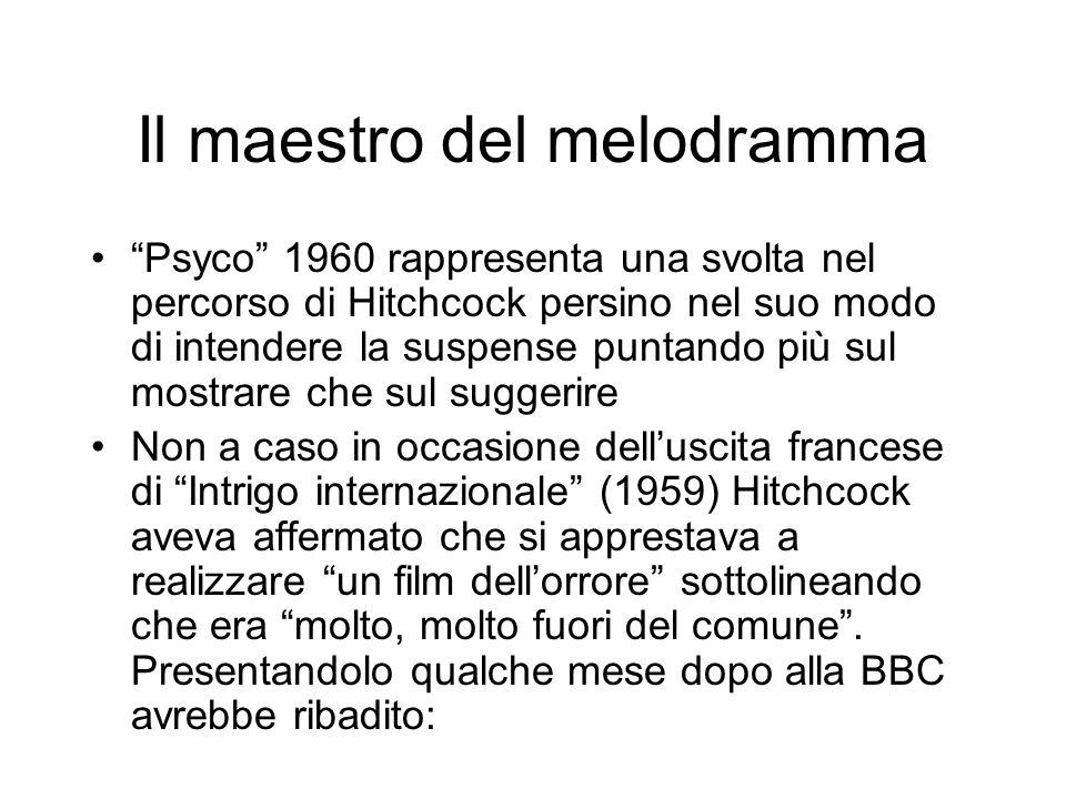 Il maestro del melodramma Psyco 1960 rappresenta una svolta nel percorso di Hitchcock persino nel suo modo di intendere la suspense puntando più sul m