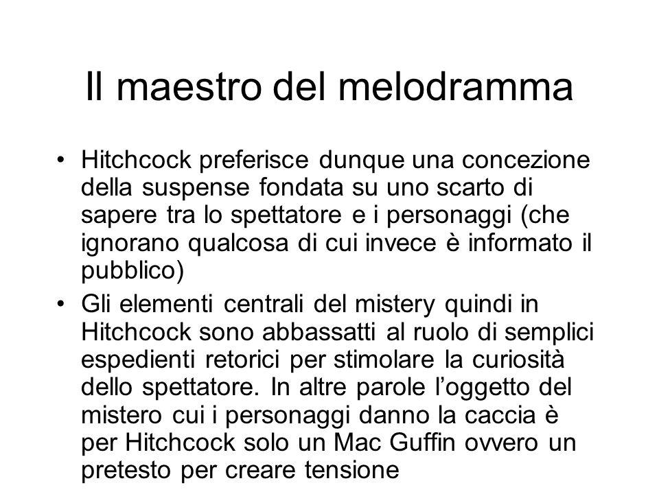 Il maestro del melodramma Hitchcock preferisce dunque una concezione della suspense fondata su uno scarto di sapere tra lo spettatore e i personaggi (