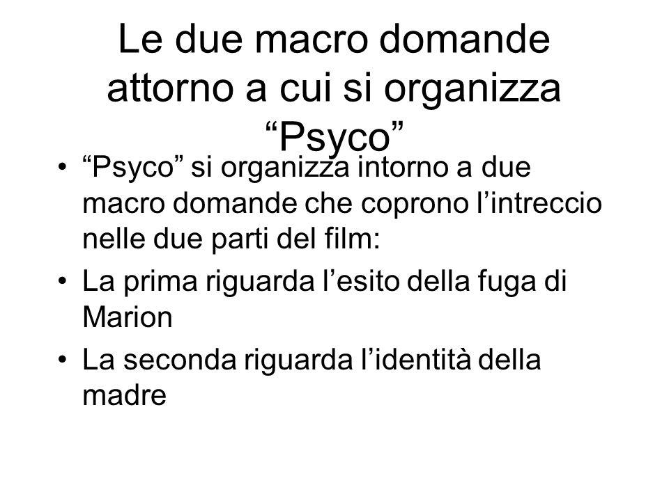 Le due macro domande attorno a cui si organizza Psyco Psyco si organizza intorno a due macro domande che coprono lintreccio nelle due parti del film: