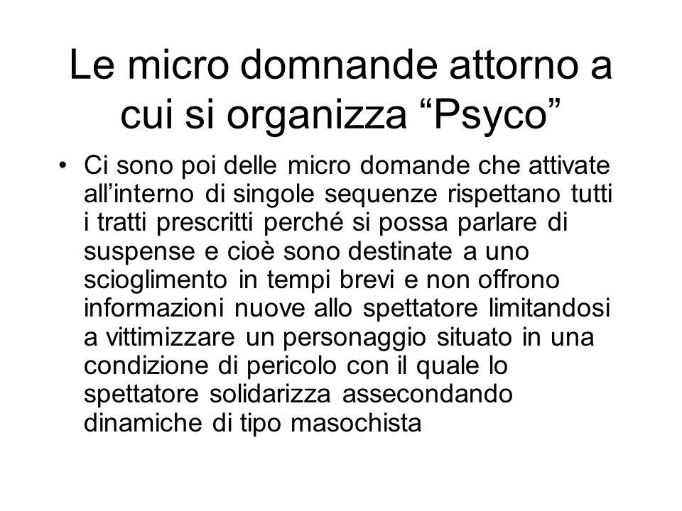 Le micro domnande attorno a cui si organizza Psyco Ci sono poi delle micro domande che attivate allinterno di singole sequenze rispettano tutti i trat
