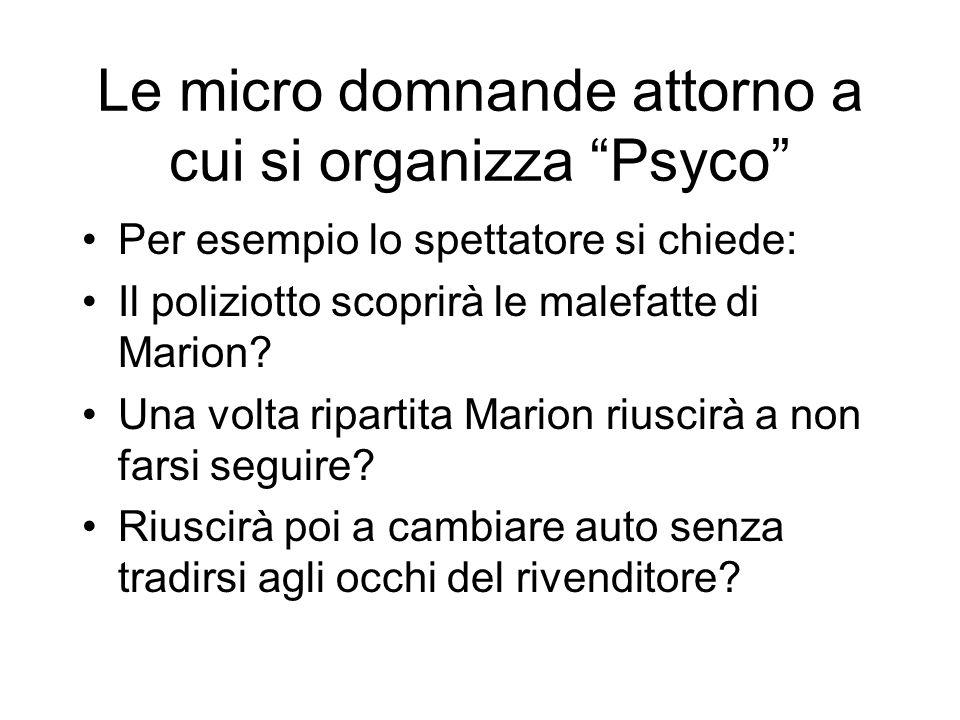 Le micro domnande attorno a cui si organizza Psyco Per esempio lo spettatore si chiede: Il poliziotto scoprirà le malefatte di Marion? Una volta ripar