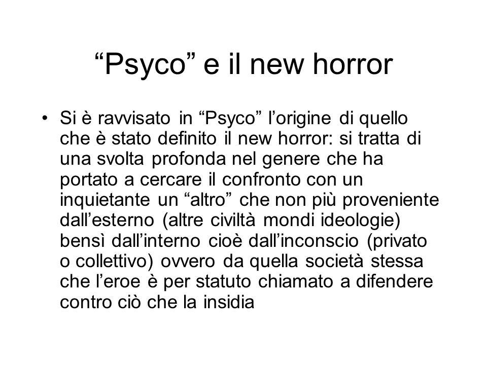 Psyco e il new horror Si è ravvisato in Psyco lorigine di quello che è stato definito il new horror: si tratta di una svolta profonda nel genere che h