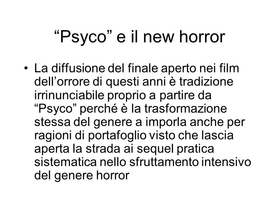 Psyco e il new horror La diffusione del finale aperto nei film dellorrore di questi anni è tradizione irrinunciabile proprio a partire da Psyco perché