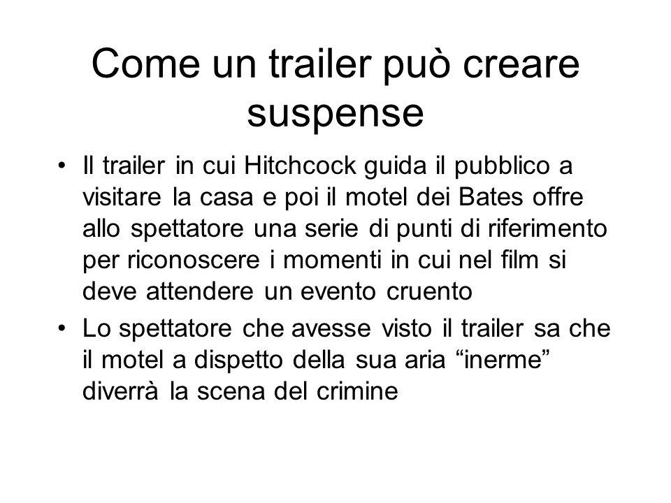 Come un trailer può creare suspense Il trailer in cui Hitchcock guida il pubblico a visitare la casa e poi il motel dei Bates offre allo spettatore un
