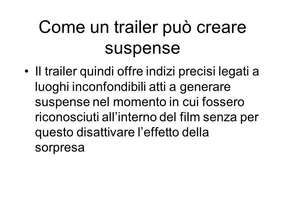 Come un trailer può creare suspense Il trailer quindi offre indizi precisi legati a luoghi inconfondibili atti a generare suspense nel momento in cui