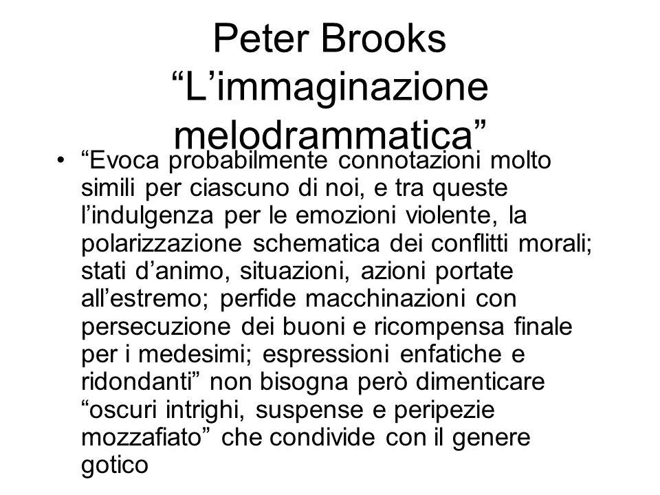 Peter Brooks Limmaginazione melodrammatica Evoca probabilmente connotazioni molto simili per ciascuno di noi, e tra queste lindulgenza per le emozioni