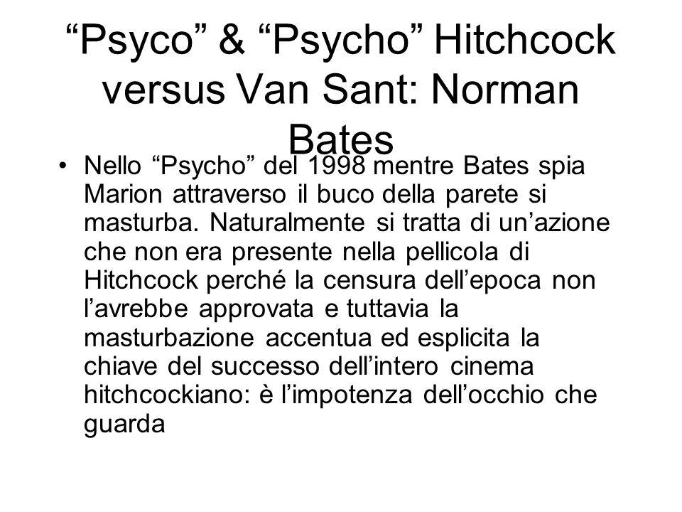 Nello Psycho del 1998 mentre Bates spia Marion attraverso il buco della parete si masturba. Naturalmente si tratta di unazione che non era presente ne