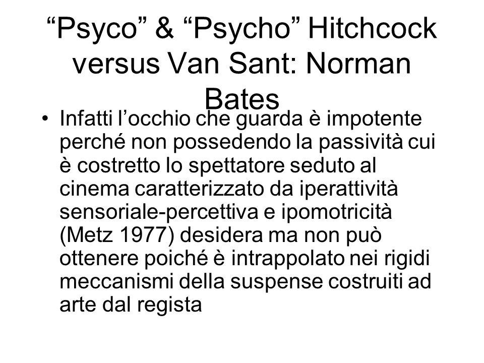 Psyco & Psycho Hitchcock versus Van Sant: Norman Bates Infatti locchio che guarda è impotente perché non possedendo la passività cui è costretto lo sp
